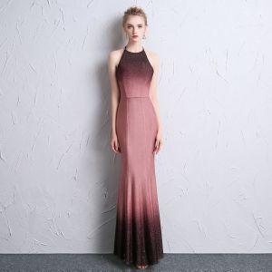 Mode Farbverlauf Abendkleider 2018 Mermaid Neckholder Reißverschluss Rückenfreies Polyester Abend Festliche Kleider