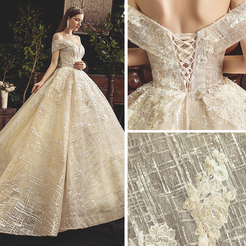 Bling Bling Champagne Wedding Dresses 2019 Ball Gown Off-The-Shoulder Short Sleeve Backless Appliques Lace Beading Pearl Sequins Glitter Tulle Chapel Train Ruffle