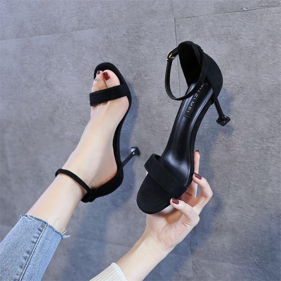 Mode Noire Désinvolte Daim Sandales Femme 2020 Bride Cheville 9 cm Talons Aiguilles Peep Toes / Bout Ouvert Sandales