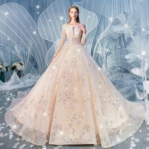 Charming Champagne Wedding Dresses 2020 Ball Gown Scoop Neck Sequins Lace Flower Long Sleeve Backless Cathedral Train