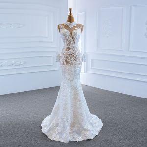 Luxury / Gorgeous White See-through Bridal Wedding Dresses 2020 Trumpet / Mermaid High Neck Long Sleeve Appliques Lace Handmade  Beading Sweep Train