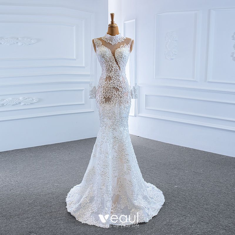 Luxury Gorgeous White See Through Bridal Wedding Dresses 2020 Trumpet Mermaid High Neck Long Sleeve Appliques Lace Handmade Beading Sweep Train,Nice Dresses For Traditional Wedding