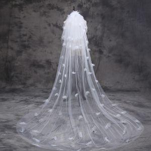 Klassieke Elegante 2017 Witte Appliques Tule Kanten Hal Bruidssluier