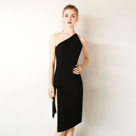 06543b27c1 Stylowe   Modne Proste   Simple Czarne Sukienki Wieczorowe 2019 Jedno Ramię  Bez Rękawów Bez Pleców Krótkie Sukienki Wizytowe
