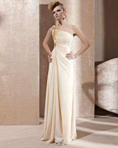 Strapless Twist One Shoulder Beading Ruffle Sleeveless Backless Floor Length Chiffon Woman Evening Dresses