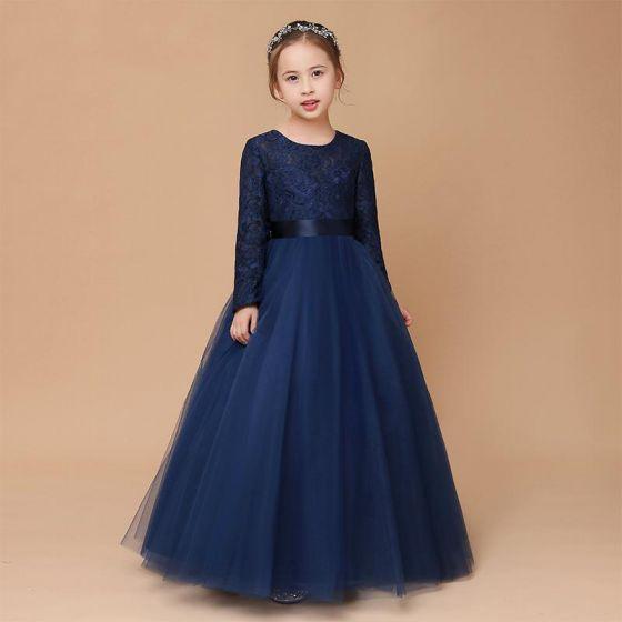 Muzułmańska Granatowe Koronkowe Zima Sukienki Dla Dziewczynek 2020 Princessa Wycięciem Długie Rękawy Szarfa Długie Wzburzyć