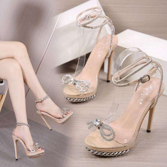 Sexet Gennemsigtig Beige Fest Selskabs Sandaler Dame 2021 Ankel Strop Rhinestone Sløjfe 13 cm Stiletter Peep Toe Sandaler Højhælede