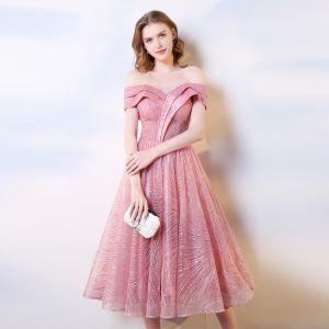 Piękne Cukierki Różowy Homecoming Sukienki Na Studniówke 2019 Princessa Przy Ramieniu Cekiny Kótkie Rękawy Bez Pleców Długość Herbaty Sukienki Wizytowe