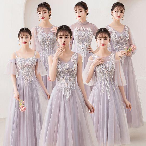 Niedrogie Rumieniąc Różowy Przezroczyste Sukienki Dla Druhen 2019 Princessa Aplikacje Z Koronki Perła Długość Kostki Wzburzyć Bez Pleców Sukienki Na Wesele