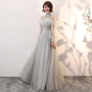 Elegant Grey See-through Prom Dresses 2018 A-Line / Princess High Neck Long Sleeve Appliques Lace Pearl Sash Floor-Length / Long Backless Ruffle Formal Dresses