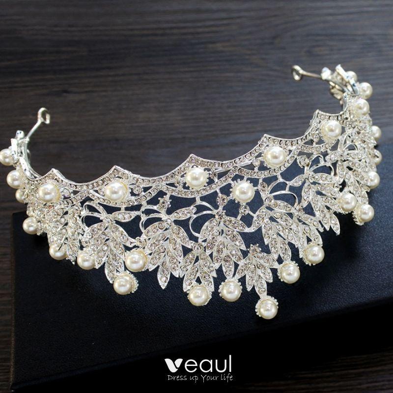 Bridal Jewelry 2017 Silver Crystal Metal Tiara Chic / Beautiful