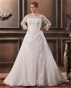 Beautiful Off-The-Shoulder Cathedral Train Taffeta Lace Plus Size Wedding Dresses