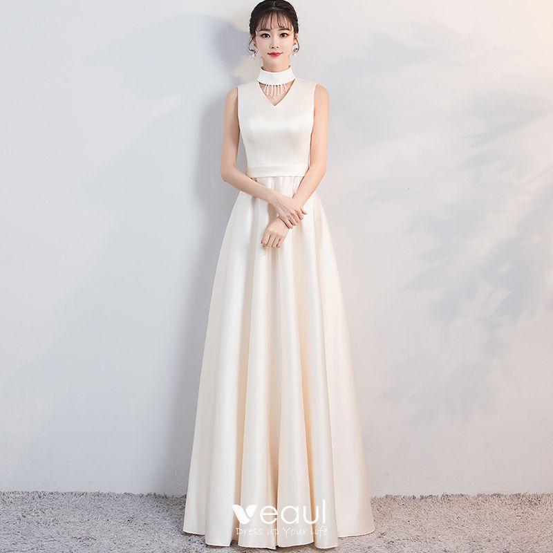 Sencillos Vestidos De Noche 2018 A Line Princess Cuello Alto Sin Mangas Largos Vestidos Formales