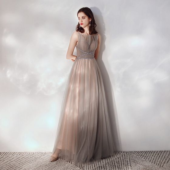 5fcd35b6c77 Chic   Beautiful Brown Evening Dresses 2019 A-Line   Princess Square  Neckline Sleeveless Beading Sequins Glitter Tulle Floor-Length ...