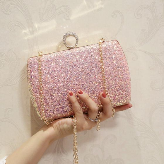 Bling Bling Candy Pink Glitter Clutch Bags 2018