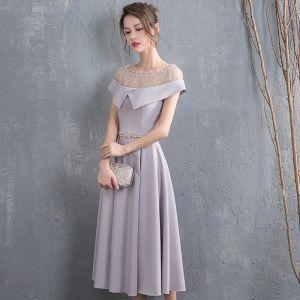 Piękne Szary Homecoming Sukienki Na Studniówke 2018 Princessa Rhinestone Szarfa Wycięciem Kótkie Rękawy Długość Herbaty Sukienki Wizytowe