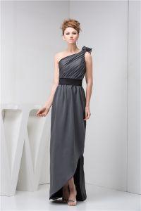 Elegant A-ligne Une Épaule Noeud Ondulé Bretelle Robe De Soirée Longue
