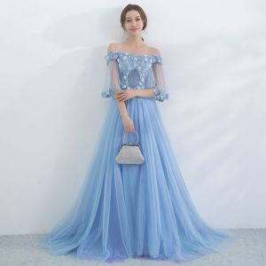 Chic / Beautiful Sky Blue Evening Dresses  2017 A-Line / Princess Off-The-Shoulder 1/2 Sleeves Beading Appliques Flower Sweep Train Backless Formal Dresses