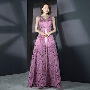 Unique Lilas Rayé Robe De Soirée 2018 Princesse V-Cou Sans Manches Faux Diamant Ceinture Longue Volants Dos Nu Robe De Ceremonie