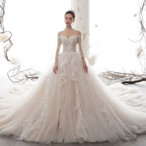 Romantic Champagne See-through Wedding Dresses 2020 Ball Gown Scoop Neck 3/4 Sleeve Backless Appliques Lace Beading Cathedral Train Ruffle