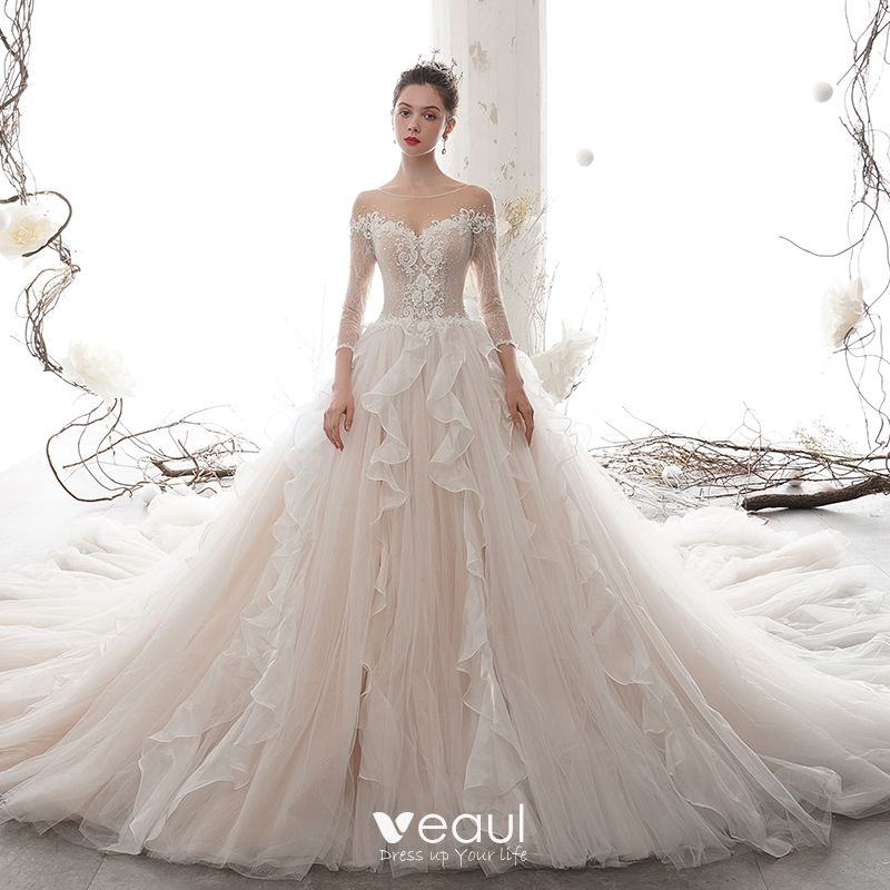 Romantic Champagne See Through Wedding Dresses 2020 Ball Gown Scoop Neck 3 4 Sleeve Backless Appliques Lace Beading Cathedral Train Ruffle