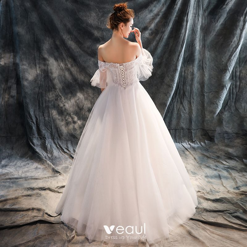 Chic / Beautiful Hall Wedding Dresses 2017 White Ball Gown Floor-Length / Long Off-The-Shoulder 1/2 Sleeves Backless Sequins Rhinestone Lace Appliques