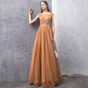 Classy Gold Evening Dresses  2019 A-Line / Princess See-through Square Neckline Sleeveless Beading Floor-Length / Long Ruffle Backless Formal Dresses