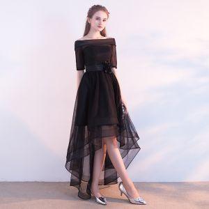Chic / Belle Noire Robe De Cocktail 2017 Princesse De l'épaule 1/2 Manches Fleur Ceinture Asymétrique Volants Dos Nu Robe De Ceremonie