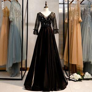 Snygga / Fina Svarta Balklänningar 2020 Prinsessa V-Hals Rhinestone Paljetter 3/4 ärm Halterneck Långa Formella Klänningar