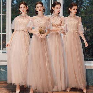 Niedrogie Różowy Perłowy Sukienki Dla Druhen 2020 Princessa Przezroczyste Aplikacje Kwiat Bez Pleców Długie Wzburzyć