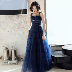 Elegantes Azul Real Vestidos de noche 2020 A-Line / Princess Spaghetti Straps Sin Mangas Lentejuelas Glitter Tul Largos Ruffle Sin Espalda Vestidos Formales