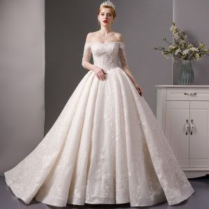 Luxury / Gorgeous Champagne Wedding Dresses 2019 Ball Gown Off-The-Shoulder 3/4 Sleeve Backless Appliques Lace Handmade  Beading Glitter Tulle Cathedral Train Ruffle