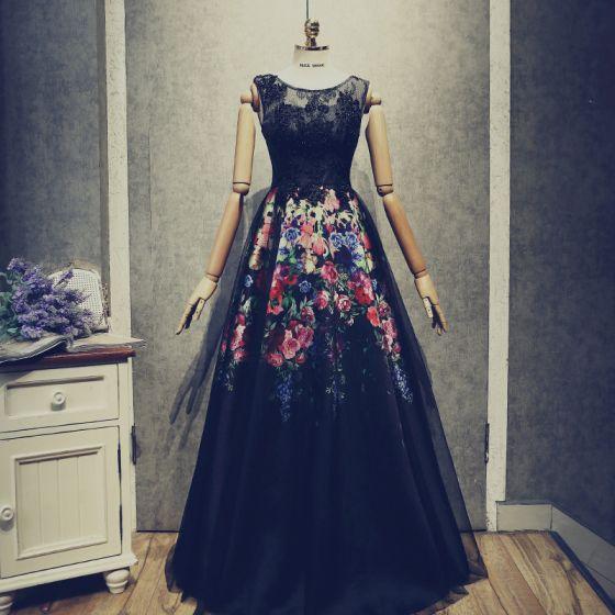 Vintage / Retro Black Prom Dresses 2018 A-Line / Princess Beading Lace Flower Printing Scoop Neck Backless Sleeveless Floor-Length / Long Formal Dresses