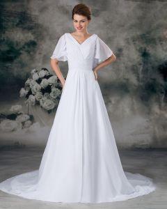 V-ausschnitt Kurzarm Bördelnder Gefalteter Bodenlangen Chiffon Reich Hochzeitskleid