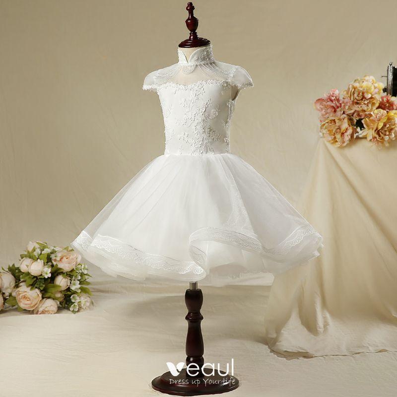 sukienki dla dziewczynek białe falbany