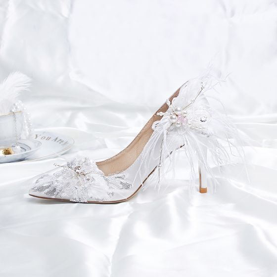 Modern / Fashion White Wedding Shoes 2020 Satin Leather Feather Pearl Sequins 9 cm Stiletto Heels Pointed Toe Wedding Pumps