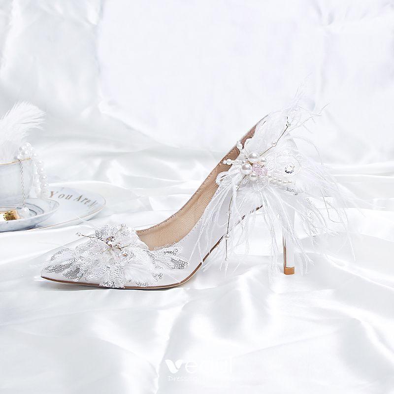 Fashion White Wedding Shoes 2020 Satin
