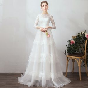 Classic Elegant White Evening Dresses  2019 A-Line / Princess 3/4 Sleeve U-Neck Lace Tulle Appliques Backless Red Carpet Work Formal Dresses