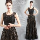 Chic / Beautiful Black Evening Dresses  2018 A-Line / Princess U-Neck Sleeveless Appliques Lace Sequins Floor-Length / Long Backless Formal Dresses