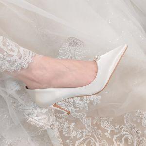 Elegant Hvide Satin Brudesko 2020 Læder Perle 7 cm Stiletter Spidse Tå Bryllup Pumps