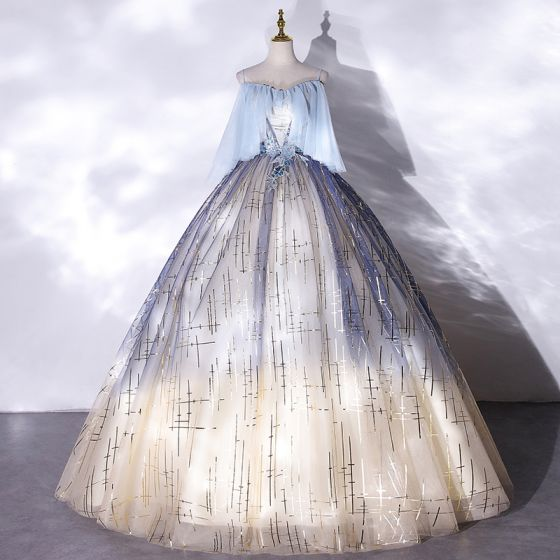 Mode Himmelsblå Gradient-Färg Balklänningar 2021 Balklänning Spaghettiband Paljetter Spets Blomma Ärmlös Halterneck Långa Formella Klänningar