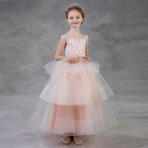Chic / Beautiful Pearl Pink Flower Girl Dresses 2018 A-Line / Princess Scoop Neck Sleeveless Appliques Flower Pearl Beading Bow Sash Floor-Length / Long Backless Cascading Ruffles Wedding Party Dresses
