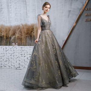 High-end Grey Evening Dresses  2020 A-Line / Princess Spaghetti Straps V-Neck Sleeveless Beading Sash Glitter Tulle Sweep Train Ruffle Backless Formal Dresses