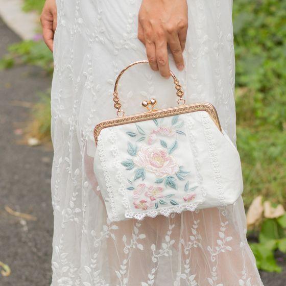 Chinesischer Stil Weiß Quadratische Clutch Tasche 2020 Metall Applikationen Spitze Stickerei Blumen