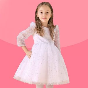 White Long-sleeved Dress Princess Flower Girl Dress