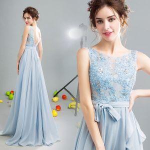 Sparkly 2017 Evening Dresses  Sky Blue U-Neck Lace Handmade  Appliques A-Line / Princess Backless Formal Dresses