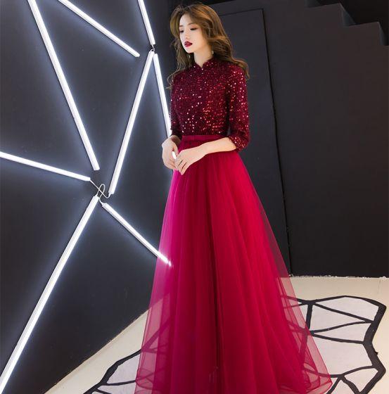 b2ae6cfcc Estilo Chino Borgoña Vestidos de noche 2019 A-Line   Princess Cuello Alto  Tassel Lentejuelas Bowknot ...