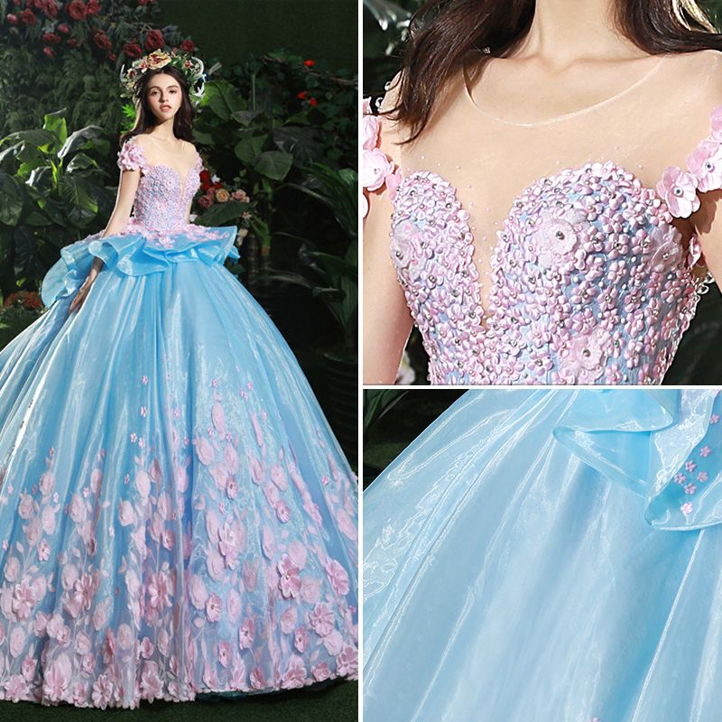 Stunning Pool Blue Wedding Dresses 2017 Scoop Neck Short Sleeve Backless Appliques Blushing Pink Flower Organza Ruffle Ball Gown Chapel Train