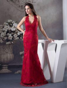 Sirène Licol V-cou Appliques Robe Unique De Bal Robe De Soirée Rouge