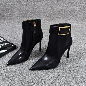 Mode Schwarz Strassenmode Stiefel Damen 2020 Leder Ankle Boots 9 cm Stilettos Spitzschuh Stiefel